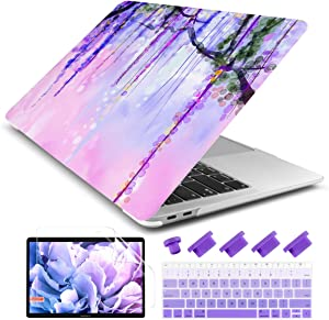 Dongke MacBook Air 13 Inch Case 2019 2018 Release New Version A1932, Soft Touch Hard Case Shell Cover for Apple MacBook Air 13 Retina with Touch ID with Keyboard Cover + Screen Film - Flowers Painting