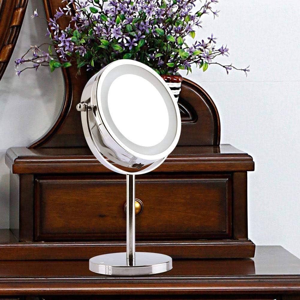 EBTOOLS Miroir de Maquillage Double Face 5 Fois Grossissant et Normal Lumi/ère LED Miroir de Table Miroir cosm/étique Pivotant /à 360/° pour Salle de Bain Coiffeuse 6 Pouces