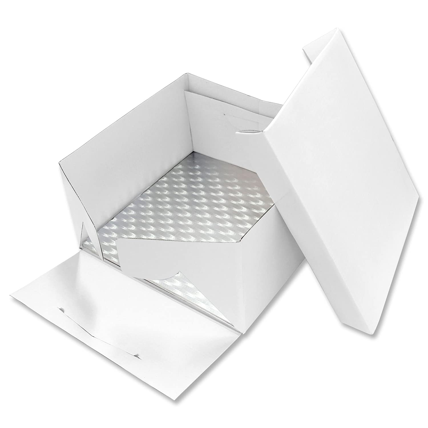 PME BBS887 Drum/Board (0.4in Thick) & Square Cake Box 9in x 6in high, Standard, White