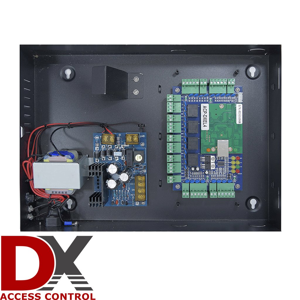 Commercial Grade Four Door Security Panel Dx Series Rfid Based Access Control System Using 8051 Electronic Circuits Package With Power Supply Case Lock Board Camera