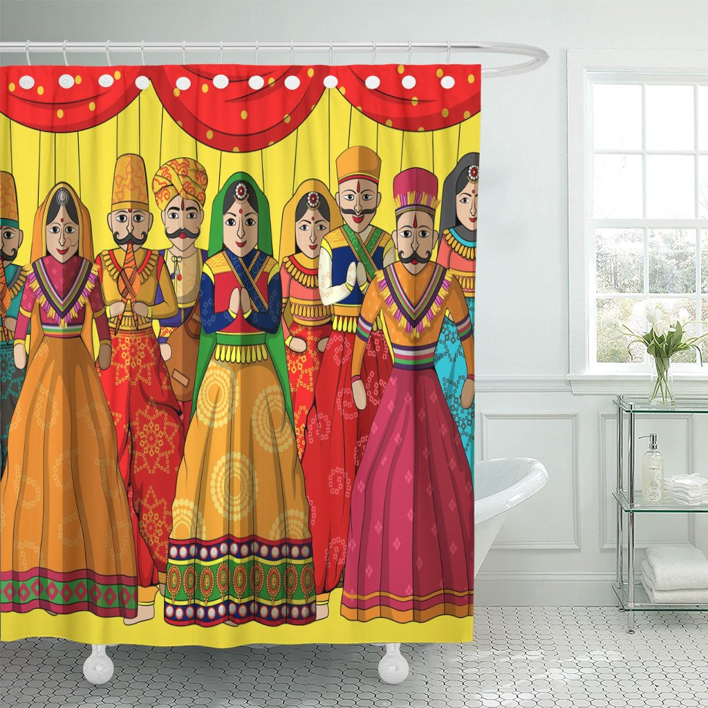 Breezat Shower Curtain Rajasthan Design of Colorful Rajasthani Puppet in Indian Style Jaipur Waterproof Polyester Fabric 72 x 78 Inches Set with Hooks by Breezat (Image #1)