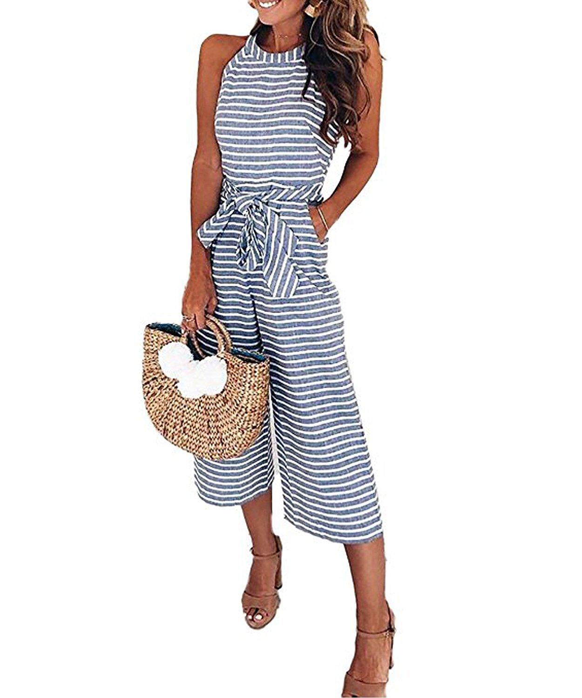 Bolomi Women's Stripe Halter Neck Sleeveless Belt Wide Leg Jumpsuit with Pockets Blue M