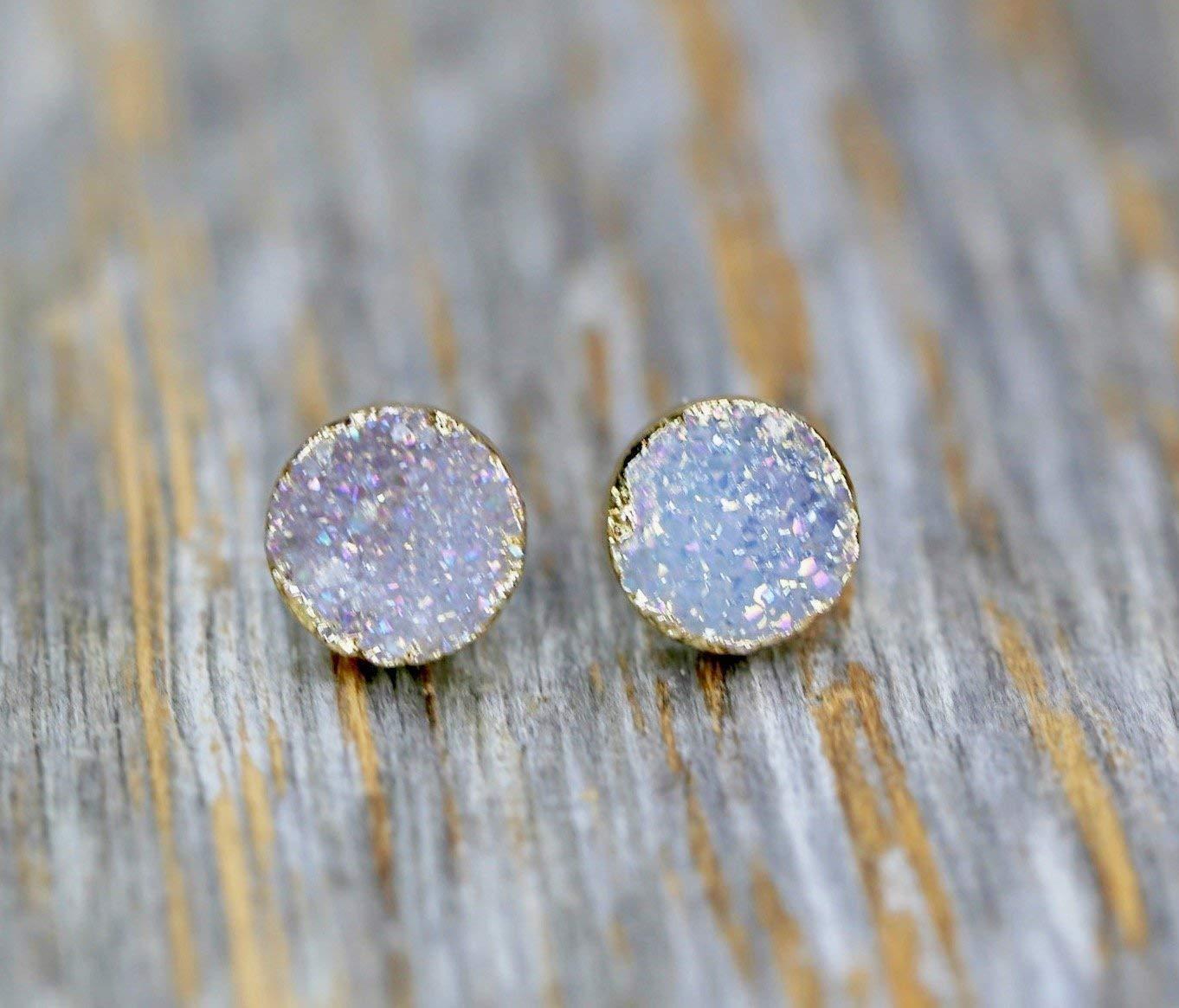 White Lilac Natural Druzy Stud Earring Real Genuine Druzy Quartz Gemstone- 8mm
