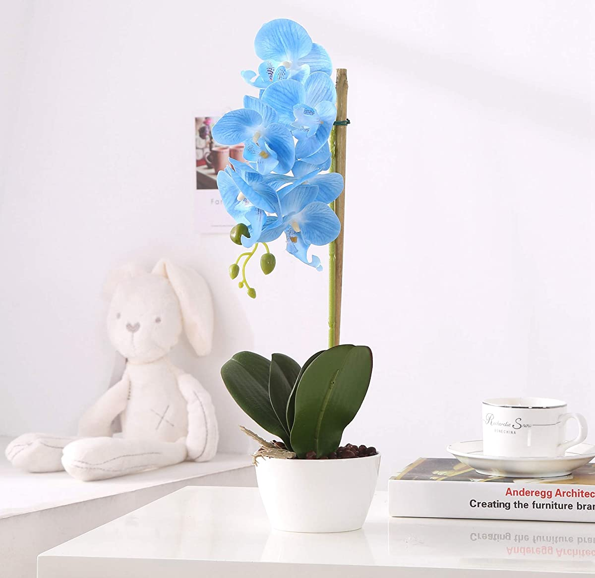 Phaleanopsis Arrangement with Vase Decorative Artificial Orchid Flower Bonsai (Blue)