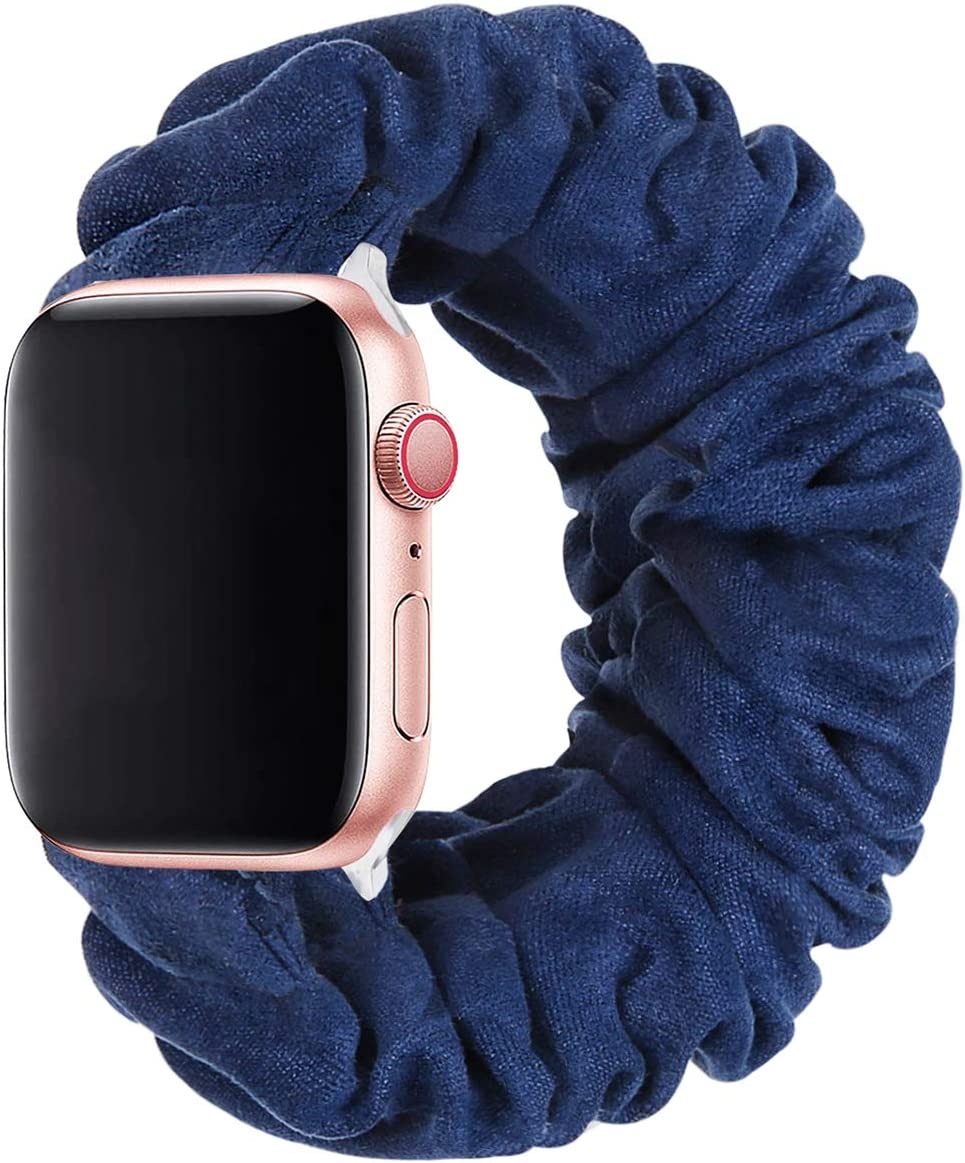 THOUSMOON Scrunchie Elastic Watch Band Compatible for Apple Watch,38mm 40mm / 42mm 44mm Light and Comfortable Watch Scrunchy Band Compatible with Iwatch Series 1/2/3/4 (Navy, 38mm/40mm)