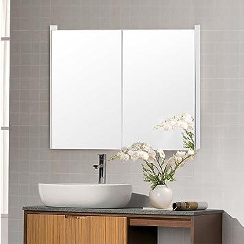 Amazon Tangkula Mirrored Bathroom Cabinet Wall Mount Storage