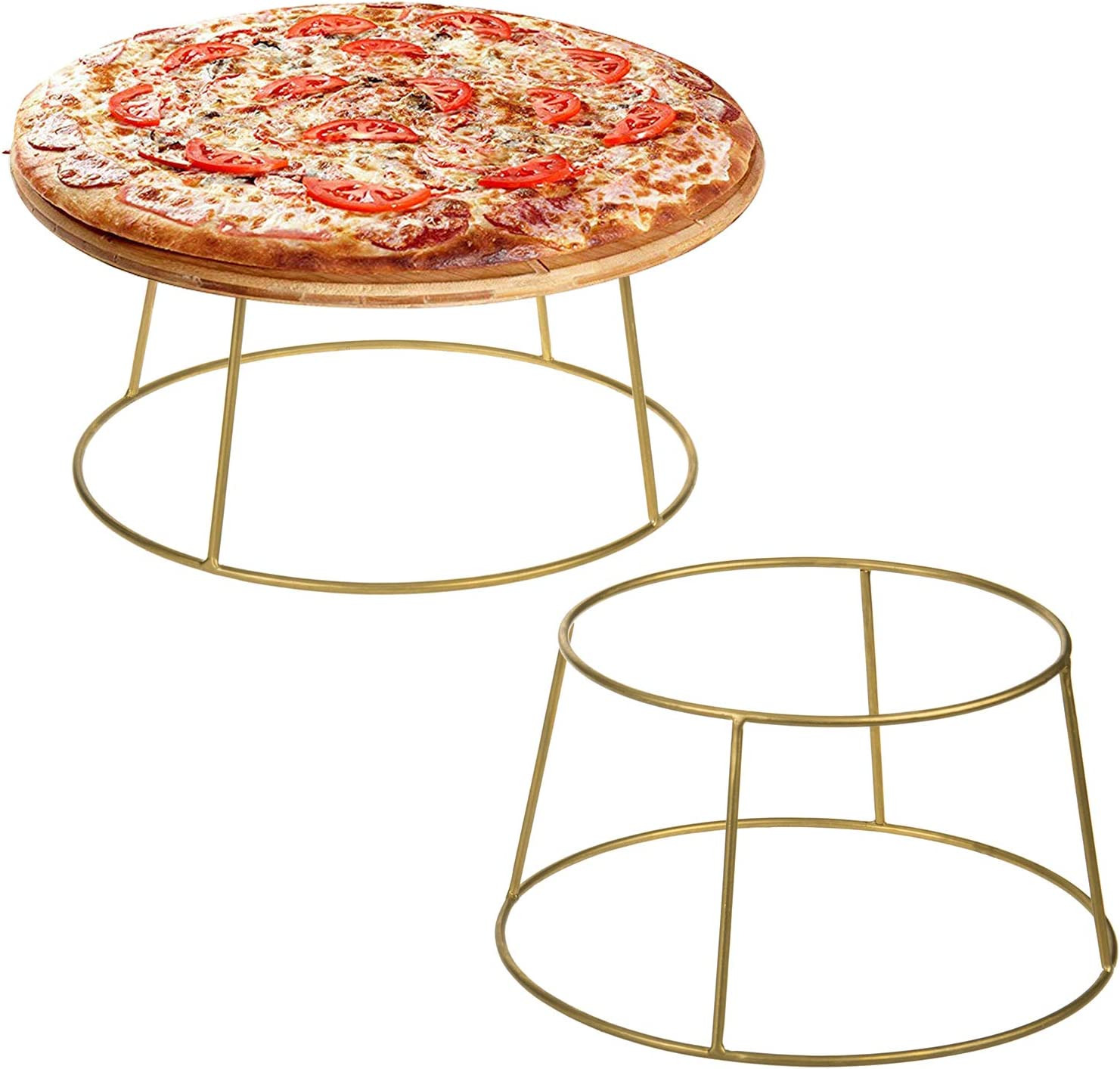 MyGift Brass-Tone Wire Metal Pizza Pan Risers/Food Display Stand, Set of 2
