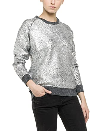 Replay Damen Pullover Pulli, Grau (MEDIUM Grey Mel M06), 42