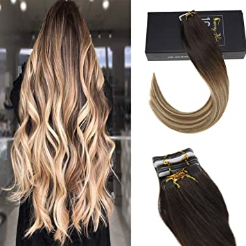 Sunny Remy Human Hair Tape in Extensions Dark Brown Fading to Chestnut  Brown with Honey Blonde Balayage Ombre Tape in Hair Extensions 40  Pieces/100g