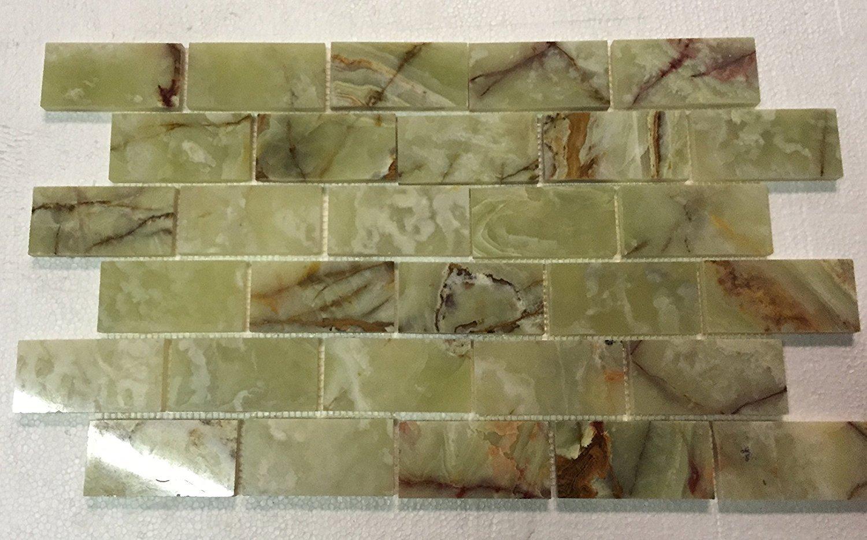 2x4 Green Onyx Polished Mosaic Tiles on the Mesh Sheet