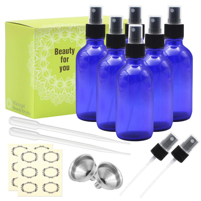 Mavogel Pack of 6, 4 oz Cobalt Blue Glass Bottles with Black Fine Mist Sprayers-Including 2 Extra Black Fine Mist Sprayers, 2 Stainless Steel Mini Funnel, 2 Transfer Pipettes, 6 Bottle Labels