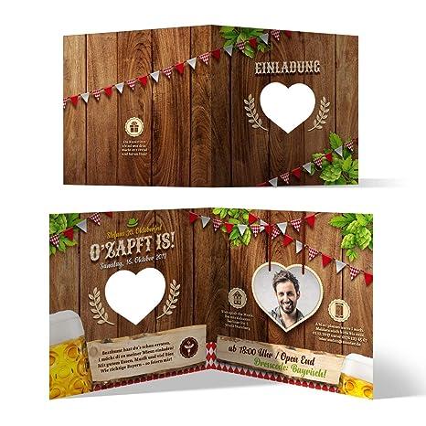 Lasergeschnittene Einladungskarten 30 Stück Oktoberfest Geburtstag Bayern Ozapft Is Rot Mit Foto