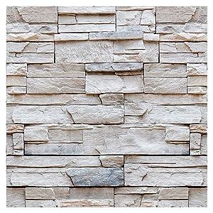 "artgeist Wallpaper Faux Stone 19,3"" x 393,7"" Peel and Stick Self-Adhesive Decorative Foil Wall Mural Removable Sticker Premium Print Picture Image Design Home Decor f-C-0336-j-a"