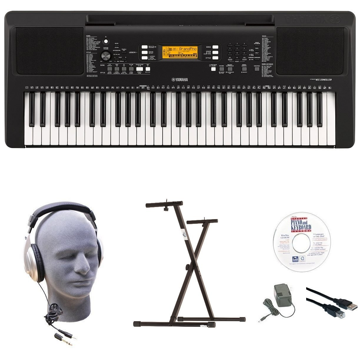 Yamaha PSR-E363 EPY 61-Key Keyboard Pack with Headphones, Power Supply, Secure Bolt-On Stand, eMedia Instructional Software, USB Cable by YAMAHA