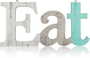 Wood Eat Sign Wall Decor Kitchen Hanging Wall Plaque Farmhouse Decor Wooden Decorative Eat Letter Wall Art with Hanging Hole for Home Kitchen Dining Living Room Decoration (Classic Color)