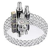 Hipiwe Crystal Cosmetic Vanity Tray - Mirrored Decorative Jewelry Tray Make up Organizer for Perfume, Trinket, Makeup…