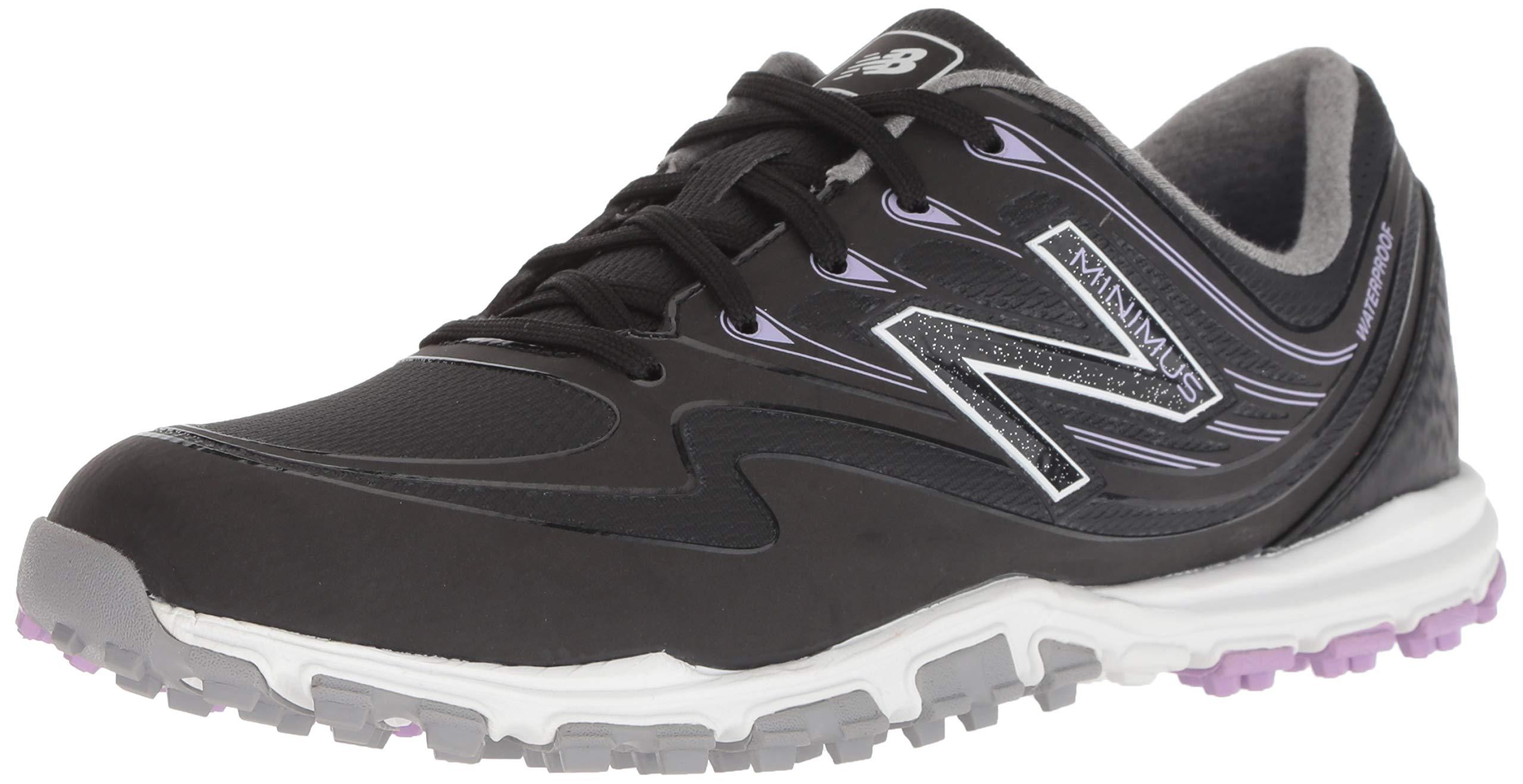 New Balance Women's Minimus WP Waterproof Spikeless Comfort Golf Shoe, Black/Purple, 6.5 M US