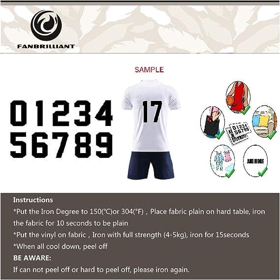 Hierro-en llano sólido Sport números transferencia tamaño 9 pulgadas de vinilo para Camiseta De Fútbol