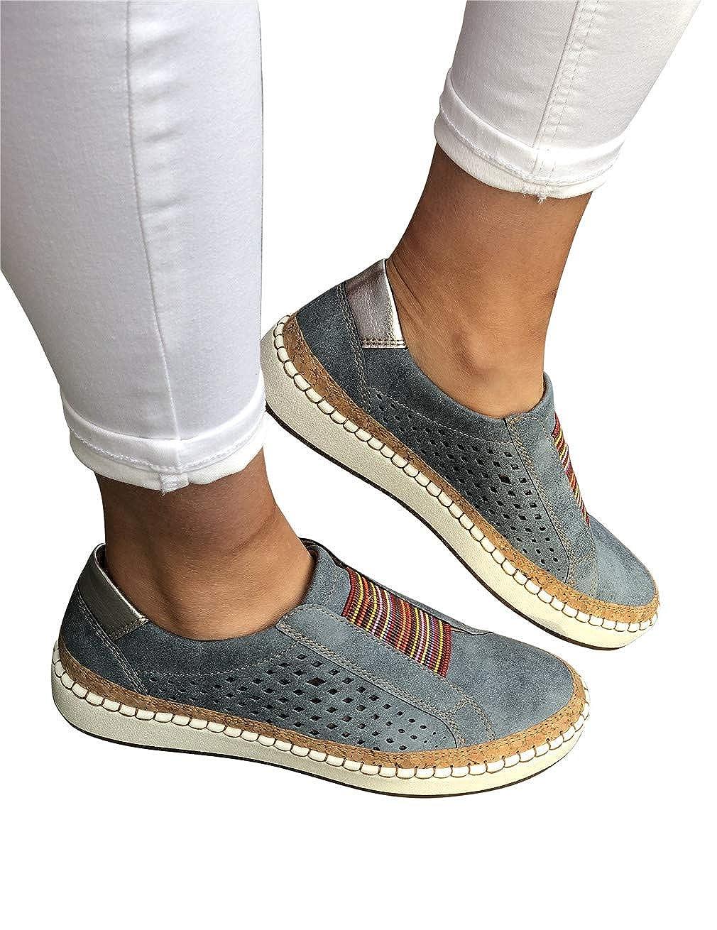 Mocassins Femme PU Cuir Plates Compens/ées Loafers Bateau Plateforme Casual Ville Confort Conduite Chaussures Basses Baskets Blanc Rouge Bleu Vert 35-43 EU