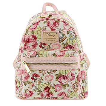 Amazon.com: Loungefly X Disney Belle Floral AOP Mini mochila ...