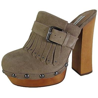 Steve Madden Womens Helgga Studded Mule Clog Shoes, Black Suede, US 9