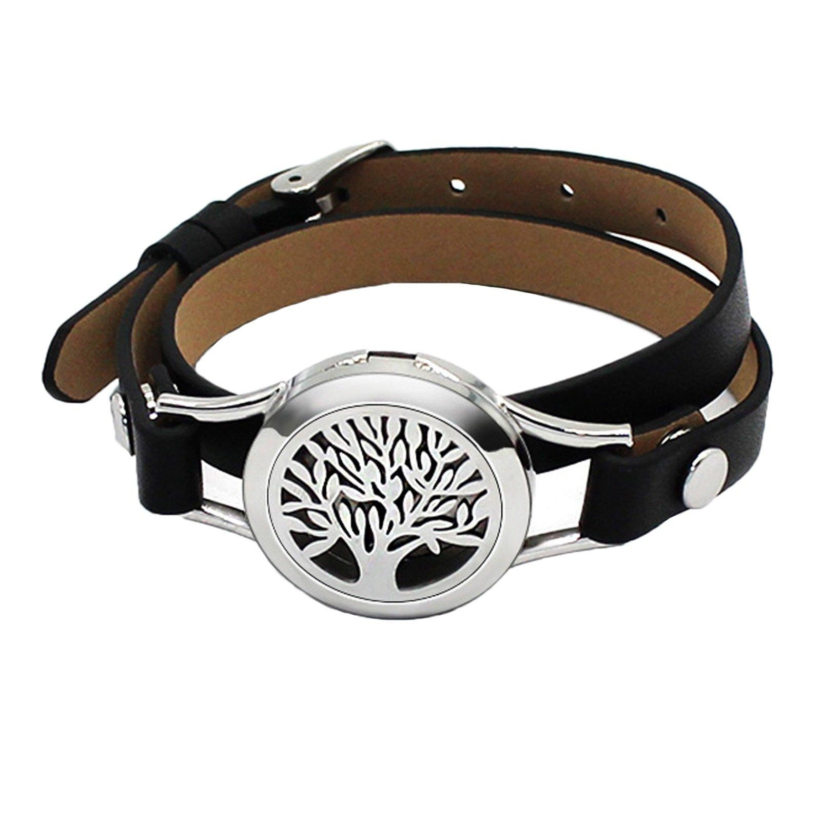 Aienid Diffuser Bracelet Tree of Life Adjustable Womens Bracelets Leather Black Aromatherapy Essential Oils