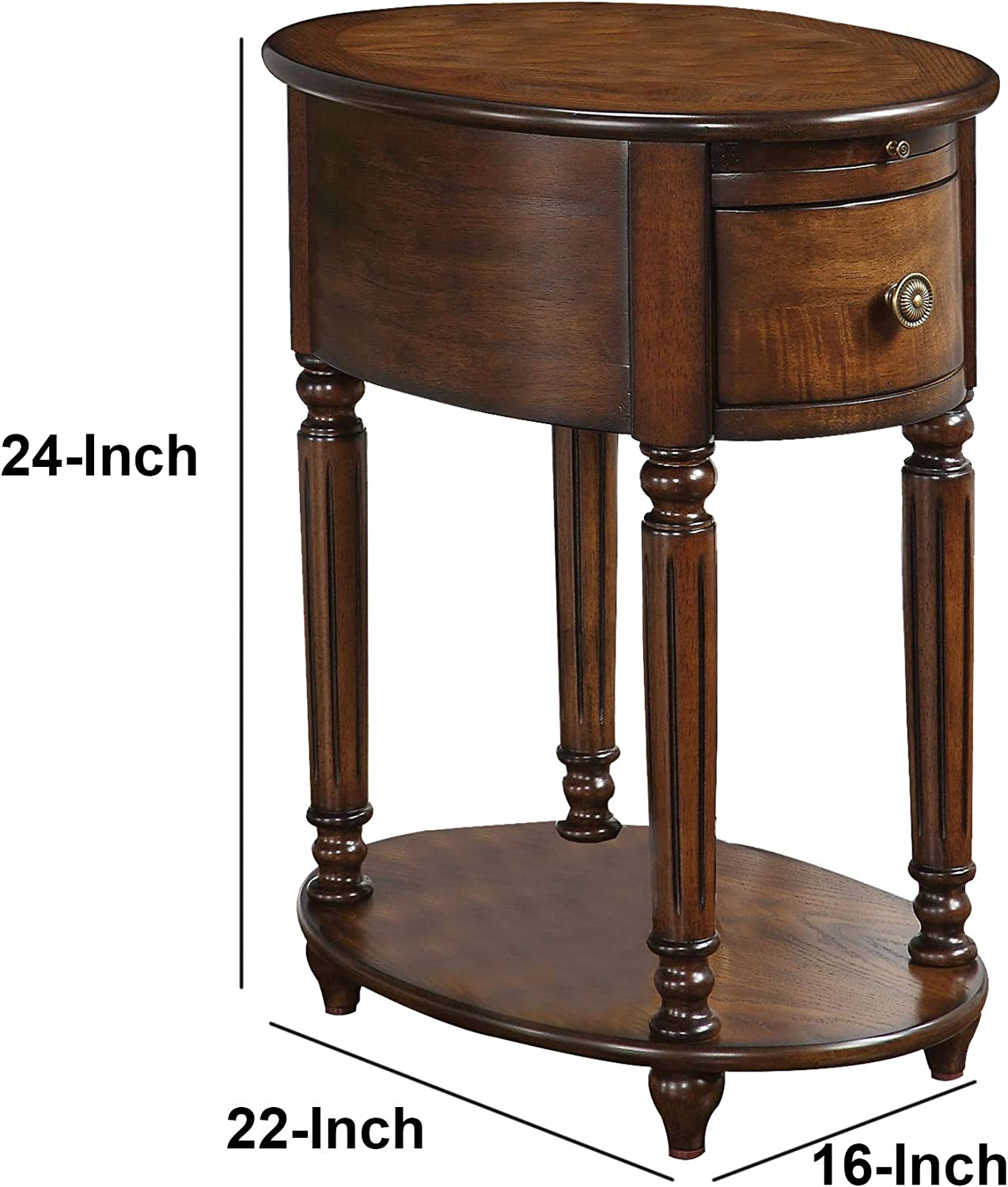 Benzara Alluring Side Table Brown Wood Amazon Co Uk Kitchen Home