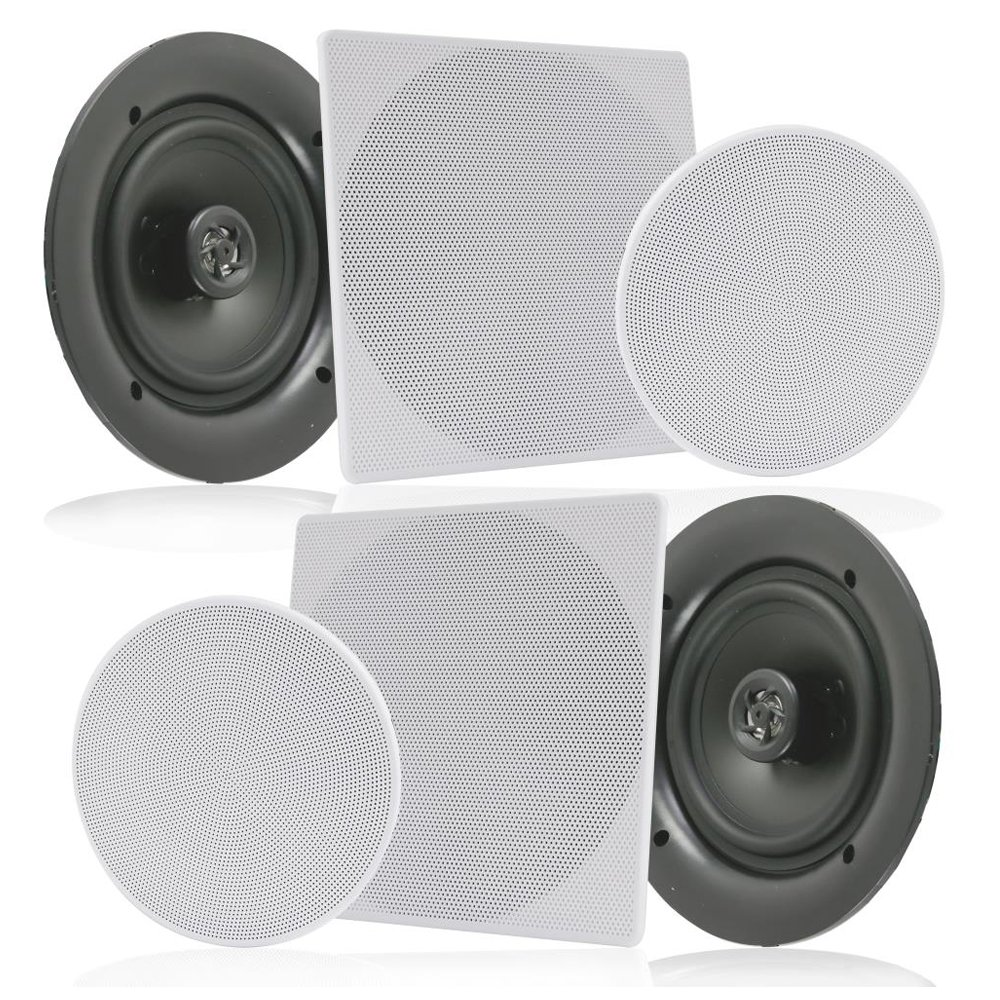 Pyle Pair 10'' Flush Mount in-Wall in-Ceiling 2-Way Speaker System Spring Loaded Quick Connections Changeable Round/Square Grill Stereo Sound Polypropylene Cone Polymer Tweeter 300 Watts (PDIC16106) by Pyle