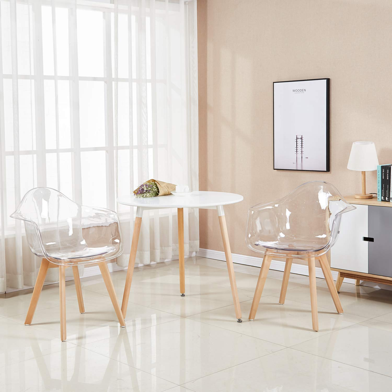 eggree 2er set transparent sessel skandinavisch esszimmerstuhl modern wohnzimmer ebay. Black Bedroom Furniture Sets. Home Design Ideas
