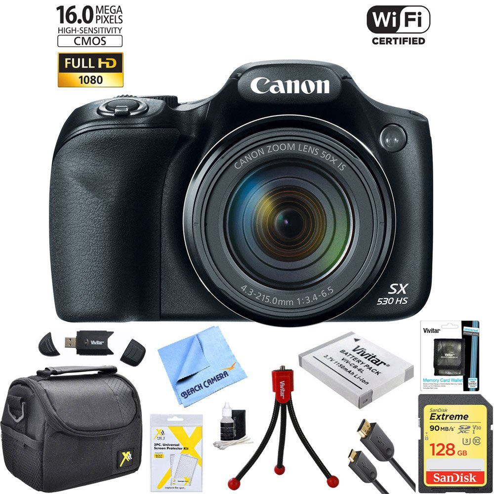 Canon Powershot SX530 HS 16MP Wi-Fi Super-Zoom Digital Camera 50x Optical Zoom Ultimate Bundle Includes Deluxe Camera Bag, 32GB Memory Cards, Extra Battery, Tripod, Card Reader, HDMI Cable & More by Canon