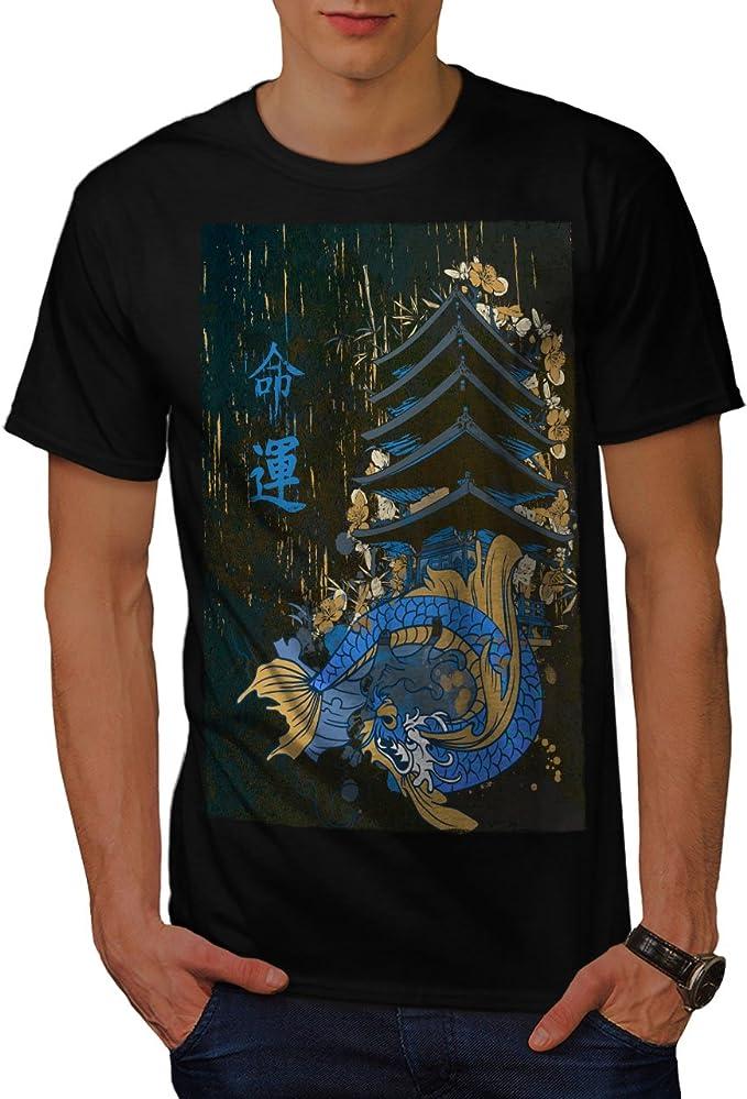 Wellcoda Dragon Face Japan Mens T-shirt Dragon Graphic Design Printed Tee