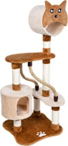 """AsyPets Cat Tree - Pet Furniture Cat Tower, 50"""" Multi-Level Cat Condo with Sisal-Covered Scratching Posts and 2 Plush Rooms for Cats or Kittens, Tall Cat Climbing Stand, Cat Cave"""