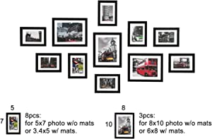 WOOD MEETS COLOR 5x7 8x10 Gallery Wall Picture Frames Set with Hanging Template, 11 Pcs Collage Photo Frames with Photo Mats,Black