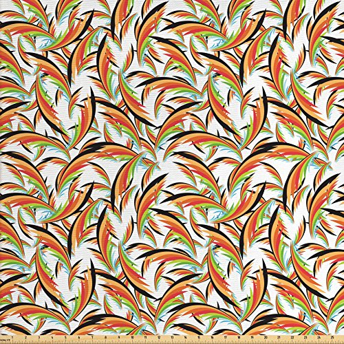 (Ambesonne Tropical Fabric by The Yard, Exotic Hawaiian Foliage Leaves Jungle Caribbean Vibes Havana Style Illustration, Decorative Fabric for Upholstery and Home Accents, Multicolor)