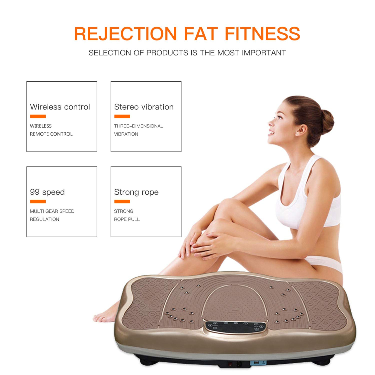 Gharpbik Vibration Fitness Machine Workout Platform Vibrating Platform Exercise & Workout Trainer, Balance Plate Exercise Equipment with Built-in Bluetooth Speakers(SP-CFM21) by Gharpbik (Image #4)