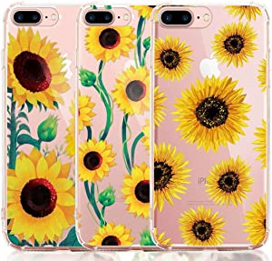 iPhone 8 Plus Case, iPhone 7 Plus Case, [3-Pack] CarterLily Watercolor Flowers Floral Pattern Soft Clear Flexible TPU Back Case for iPhone 7 Plus iPhone 8 5.5'' - Sunflowers