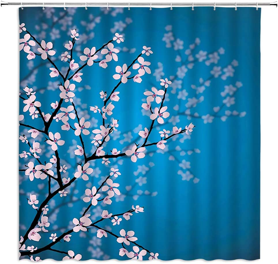 """Spring Rural Mt Fuji Cherry Blossoms Scenic Fabric Shower Curtain Liner 72//79/"""""""