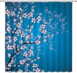 MNSC Cherry Blossom Shower Curtain, Pink Floral Japanese Sakura Flower Garden Park Leaves and Plants Ombre Spring Romantic Vintage Fashion Decor Fabric Bathroom Curtain 71x71Inch with Hooks,Blue