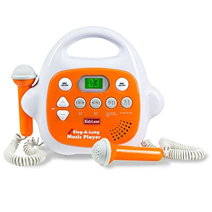 amazon com: kids mp3 player karaoke machine 2 microphone, built in music  storage, bluetooth/mp3/aux connection: toys & games