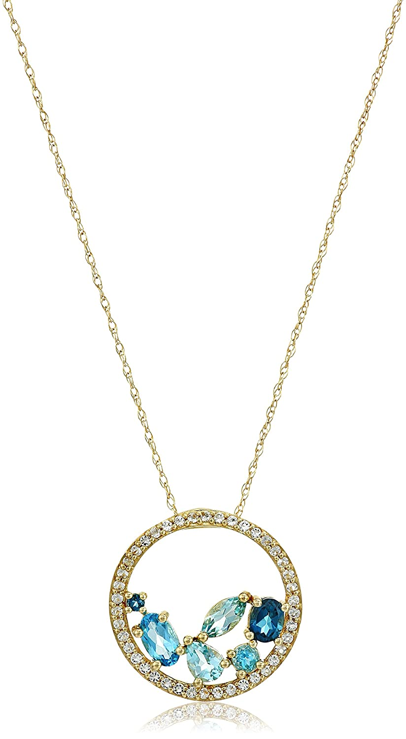"""10k Yellow Gold Shades of Blue and White Sapphire Accent Circle Pendant Necklace, 18"""""""