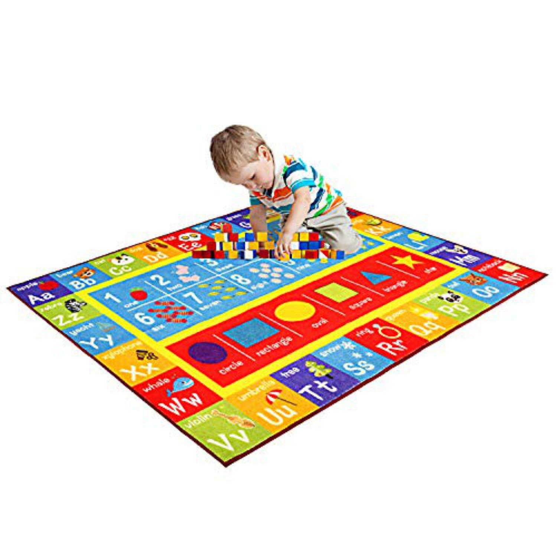 Bildungsbereich Teppich f/ür Schlafzimmer und Spielzimmer 100 x 145cm FLOWood Kinderteppich Lernteppich Spielteppich mit ABC sicher und Spa/ß Spielzeit Teppich f/ür Kinder Zahlen und Formen