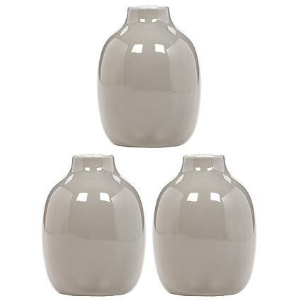 Amazon Hosley Set Of 3 Taupe Ceramic Vases 512 High Ideal