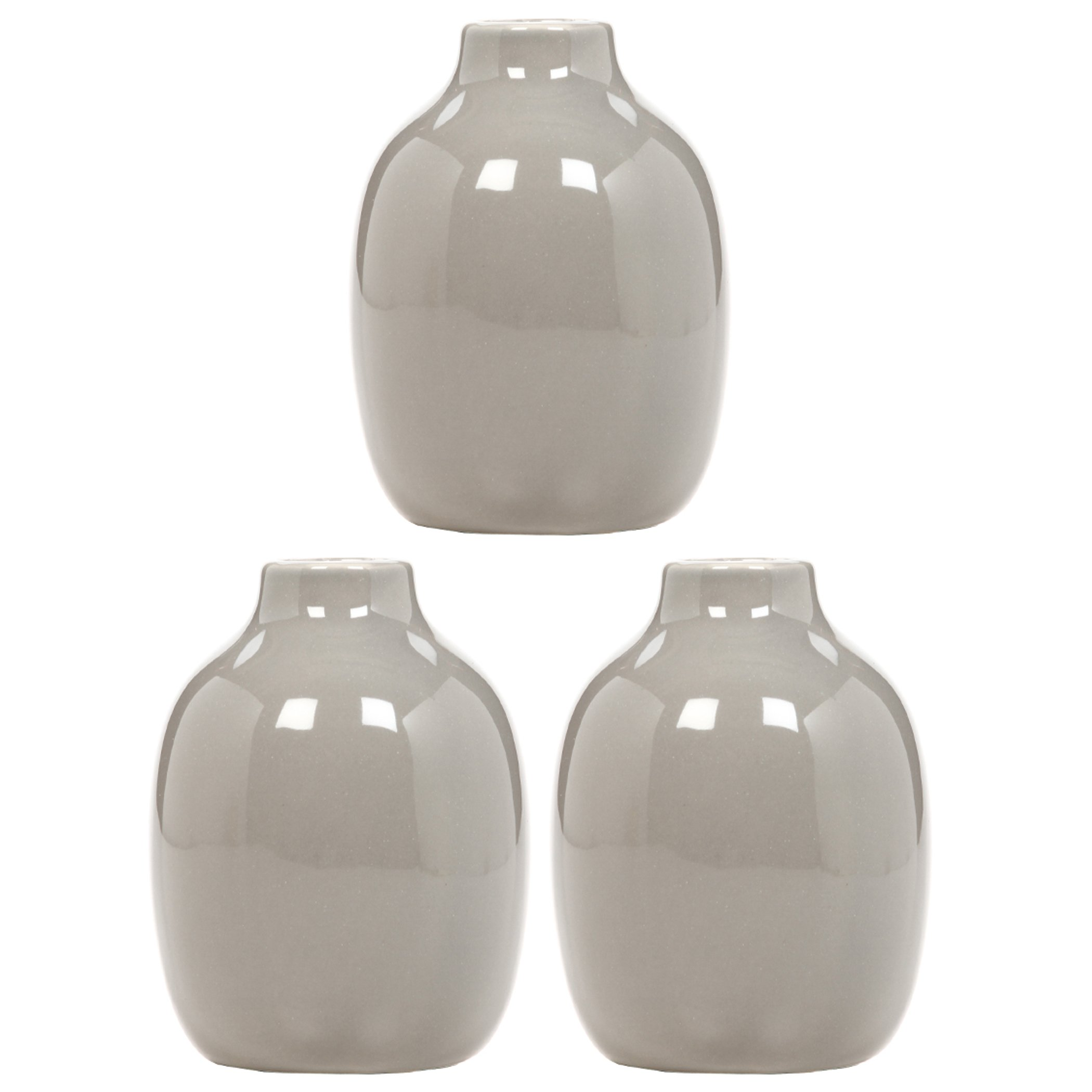 Hosley Set of 3 Taupe Ceramic Vases - 5.12'' High. Ideal for Dried Floral Arrangements, for Weddings, Spa and Aromatherapy Settings, or as a Gift O9