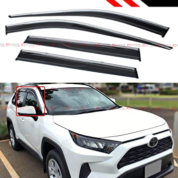 Chrome Trim Side Logo Window Visors Guard Vent Deflectors For Toyota Rav4 2019