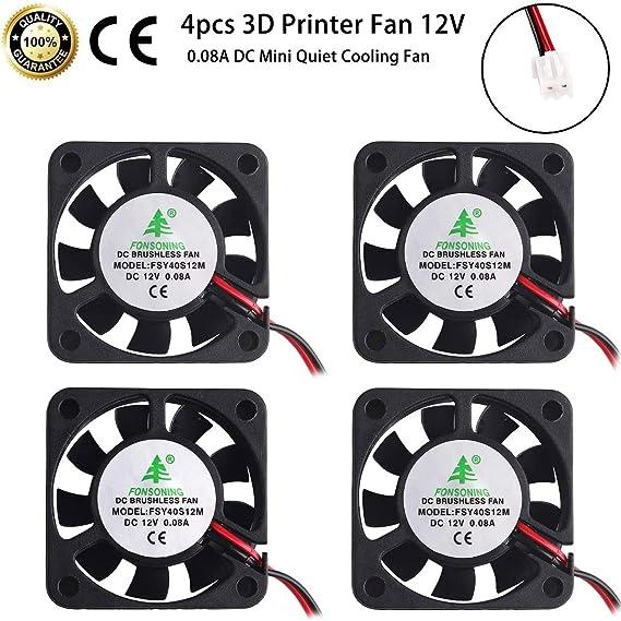 MakerFocus 4pcs 3D Printer Fan 12V