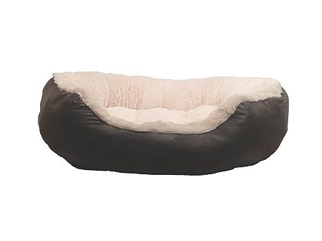 Rosewood Madera de Palisandro de Piel sintética Tela de Peluche Perro Oval Cama, marrón/