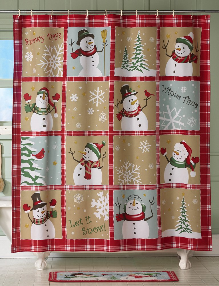 Snow Time Country Primitive Folksy Style Snowman Shower Curtain Cream Red  Green