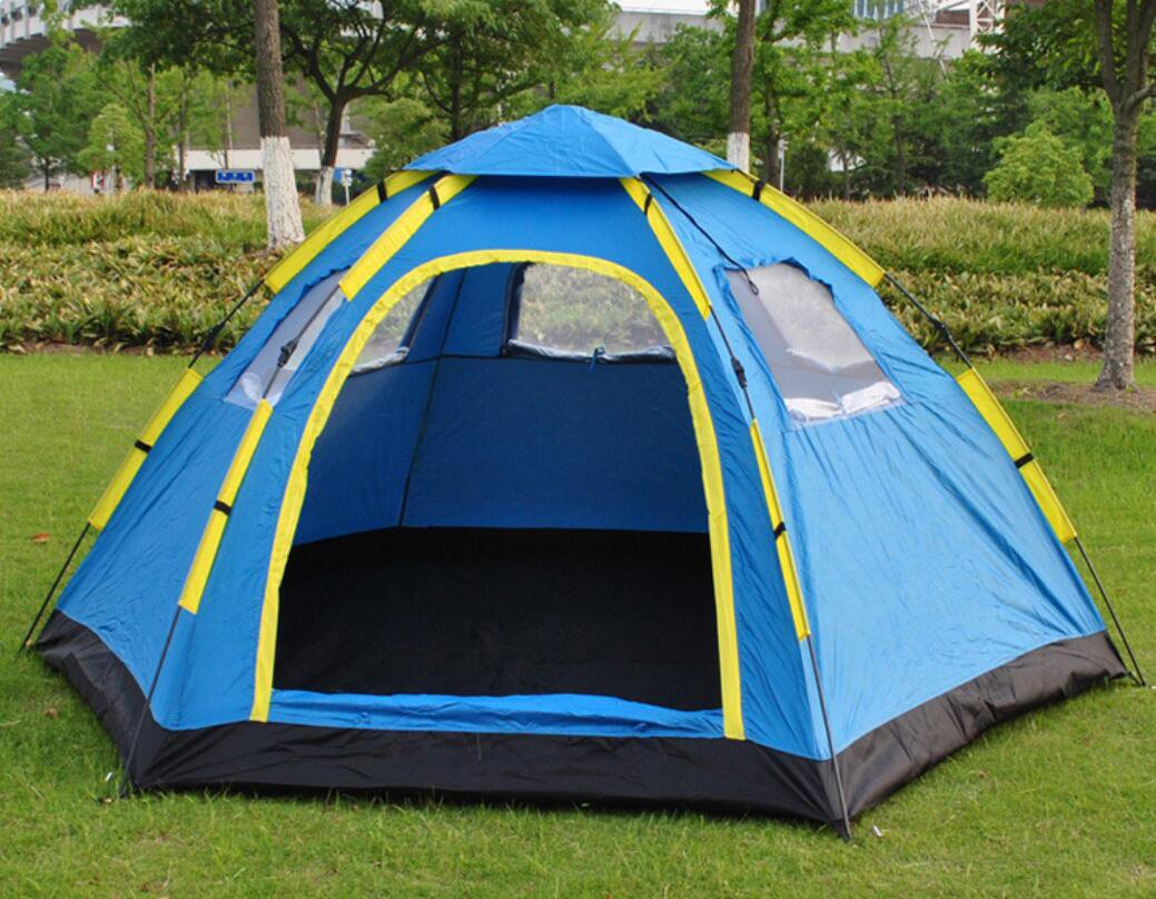 全自動屋外キャンプテント観光テント6-8六角形の大きなテント/6-8人の大家族の自動キャンプテント   B07DYKQ27Z