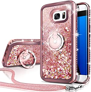 Silverback Phone case compatible with Samsung Galaxy S6 Edge, Girls Women Moving Liquuid Holographic Sparkle Glitter Case With Kickstand, Bling Bumper W/Ring Slim for Samsung Galaxy S6 Edge -Rose Gold