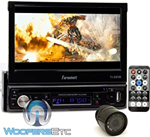 """pkg Farenheit TI-895B In-Dash 1-DIN 7"""" Motorized Flip-Out LCD Touchscreen DVD/CD/USB Receiver with Bluetooth V3.0 + XO Vision Backup Camera with Nightvision"""